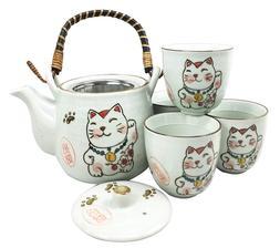Japanese Design Maneki Neko Lucky Cat White Ceramic Tea Pot