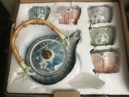 Japanese Design Tea Pot and 5 Cups Set Japan Home Decor New