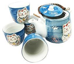 Japanese Design Maneki Neko Lucky Cat Ocean Blue Ceramic Tea