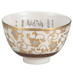 Japanese Matcha Bowl Gold Clematis Kutani Yaki