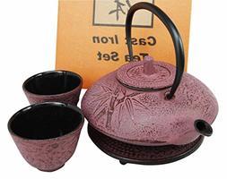 Japanese Raspberry Bamboo Design Tetsubin Traditional Heavy