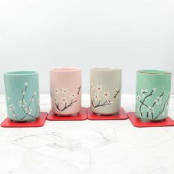 Japanese Style Ceramic Tea Set of 4 Cups w/ Coasters Mugs Ho