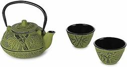 Japanese Style Green Bamboo Design Cast Iron Tetsubin Tea Se