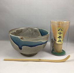 Japanese Tea Ceremony Matcha Bowl Scoop 80 Whisk Gift Set AOKAZE Made in Japan