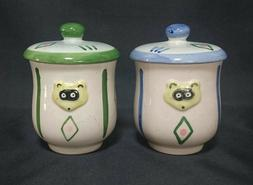 Japanese Tea Cup YUNOMI Set 2 Designed Raccoon Dog with Lid