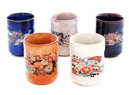 5PCS JAPANESE TEA CUPS YUNOMI KUTANI YAKI