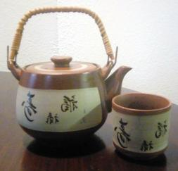 japanese tea set 4 cups red long