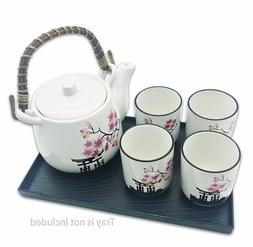 "Japanese Tea Set 5 Pieces - ""Beauty"" Pink Flower Sakura  ~ U"