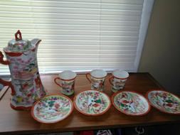 japanese tea set with geisha ladies printing