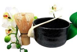 Japanese Traditional Tea Ceremony Matcha Black Grey Bowl Set