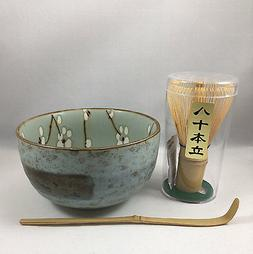 Japanese Ume Flower Matcha Cup Bowl w/ Bamboo Scoop & 80 Whi