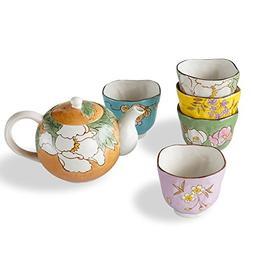 Cinf Japanese Vintage Ceramic Floral Drinkware Glaze Teapot