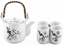 Japanese White Snow Cherry Blossom Sakura Tea Set Ceramic Te