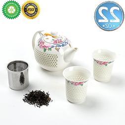 Japanse Porcelain Tea-Pot-Set For 2 with Infuser,Gift Box,TE