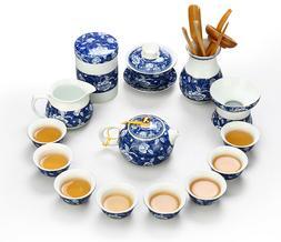 Jingdezhen blue-and-white porcelain tea set kungfu tea pot p