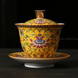 Jingdezhen porcelain gaiwan color enamel tureen ceramic cup