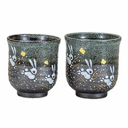 Jpanese traditional ceramic Kutani ware. Set of 2 yunomi Tea