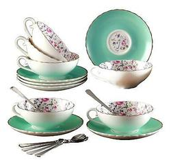 Jusalpha Elegant Blue Tea Cup and Saucer Set-Coffee Cup Set