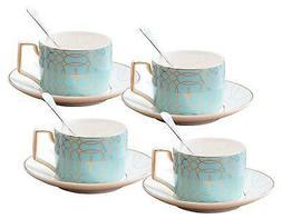 Jusalpha Fine China Modern Elegant Tea Cup and Saucer Set-Co