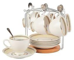 Jusalpha Fine China Tea Cup and Saucer Set-Coffee Cup Set wi