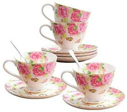 Jusalpha Fine China Tea Cup and Saucer Set- Coffee Cup Set w