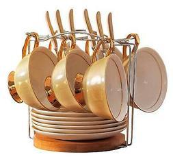 Jusalpha Porcelain Tea Cup and Saucer Coffee Cup Set with Sa