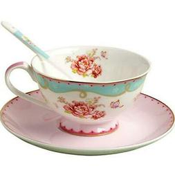 Jusalpha vintage rose bone china tea cup/Coffe cup spoon and