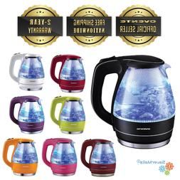 Ovente 1.5L Cordless Electric Glass Tea Kettle BPA Free Auto