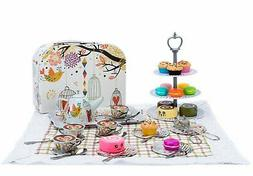 Kid Tin Tea Set Toy with Cake Stand and Dessert Play Food fo