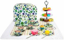 Kid Tin Tea Set Toy with Cake Stand and Dessert Play Food Do