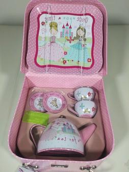 Kids Girls Princess Tin Tea Set Carry Case 7 Pcs Cups Tray K