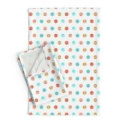 Kids Polka Dot Watercolor Coral Linen Cotton Tea Towels by R