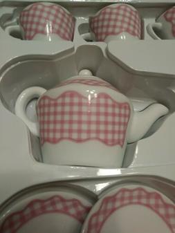 Pottery Barn Kids Tea Set for four 100% Porcelain Pink & Whi