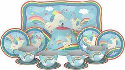 KIDS TEA SET Unicorn 15 PC Tin Tea Set Girls Fun Pretend Pla