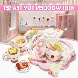 Kids Wooden Miniature Kitchen Tea Set Toy Pretend Role Play