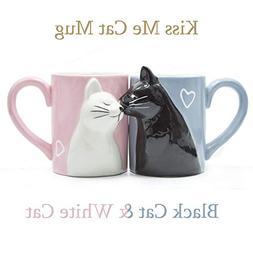 Kiss Cat Coffee Couple Mug set, Unique Funny Tea Ceramic Cup