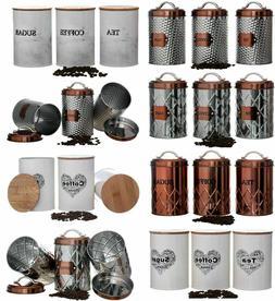 KITCHEN TEA COFFEE SUGAR JARS STORAGE CANISTER  POTS SET AIR