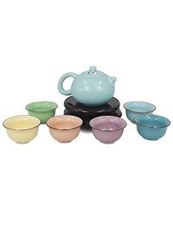 Dahlia Koi Fish Celadon Porcelain Gongfu Tea Gift Set  w Gif