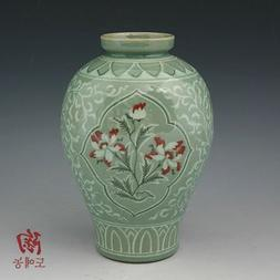 Korean Celadon Glaze Semi-round Inlaid Copper Paint Lotus Fl