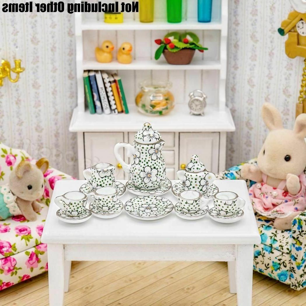 1:12 15pcs Porcelain Tea Cup Set Chintz Flower