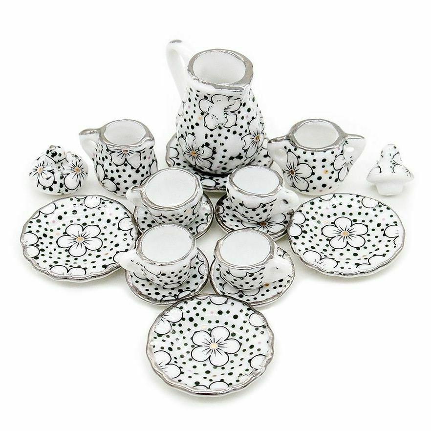 1:12 Tea Cup Chintz Flower Tableware Kitchen Gift