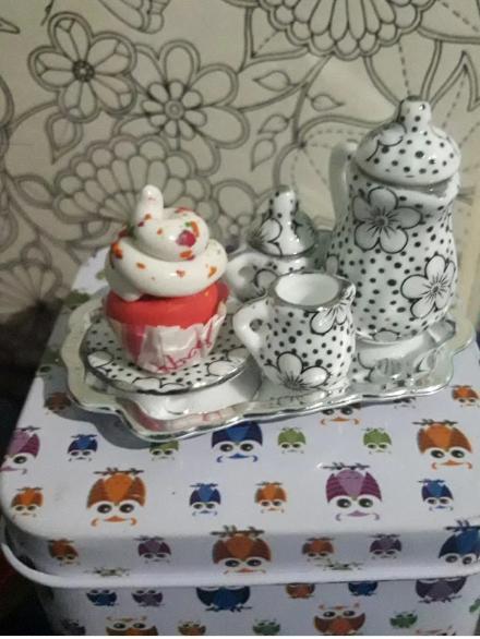1:12 Miniature 15pcs Tea Cup Chintz Flower Gift