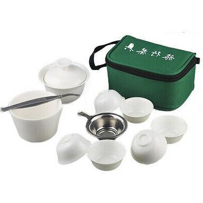 11Pcs Travel Tea Sets Chinese Portable Cerami Bone China Gai