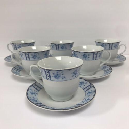 12 Pcs Design Tea Blue