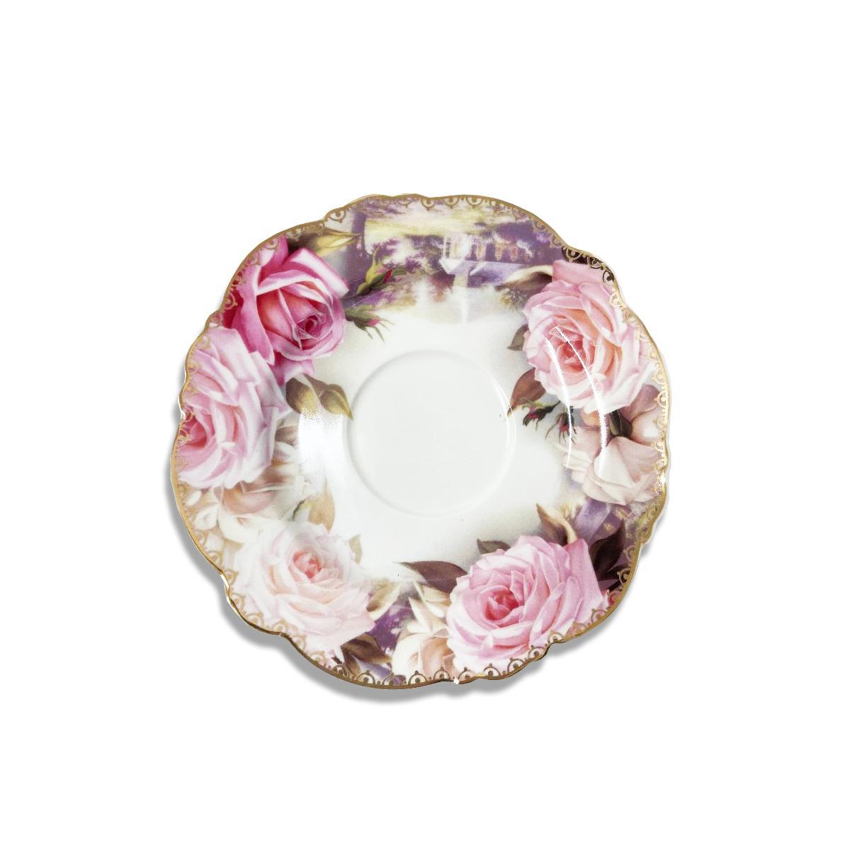 12PC Tea Set Bone China Rose Design
