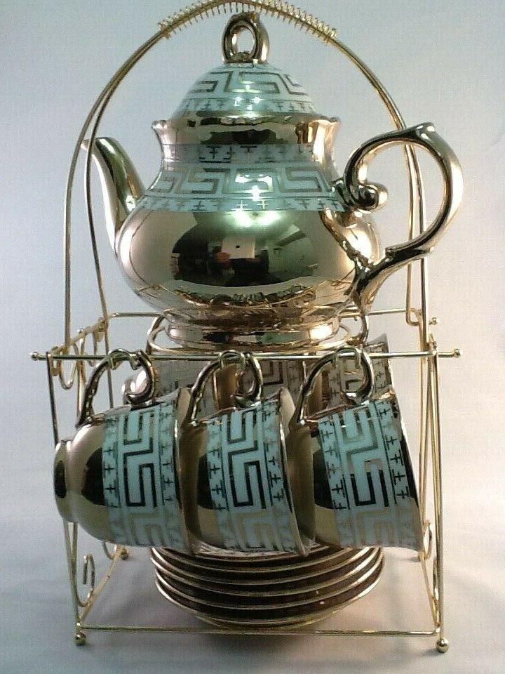 13 pc Chinese Tea Sets ! Tea Pot & 6 Cups Saucers Rack.Gold