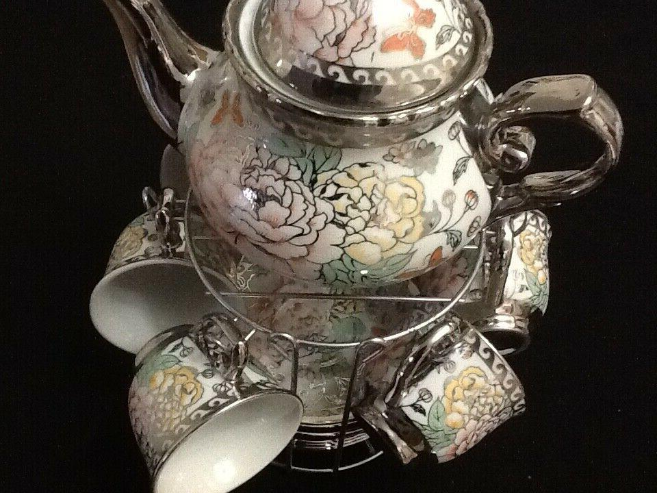 13 Pc Tea Set Tea Pot 6 Cups Saucers w Rack Silver Multi 3 o