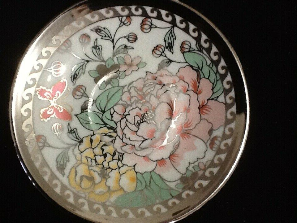 13 Tea Tea Pot 6 Cups Saucers w Rack Silver Multi oz TeaPot