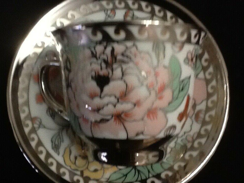 13 Pc Tea Pot 6 Saucers Rack Silver Multi oz cup TeaPot Lid