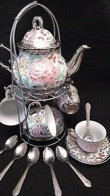 20 Piece Tea Set Tea Pot 6 Cups w Saucers w/ Rack Silver Mul